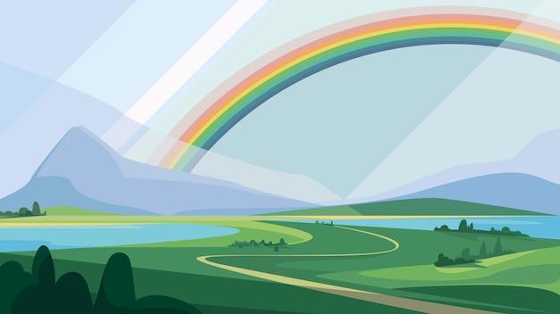山と虹のある風景。美しい自然の風景。