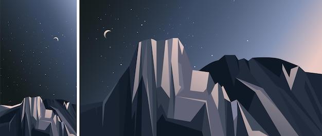 산과 별이 빛나는 하늘 풍경