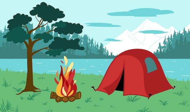 山、湖、森、キャンプファイヤー、松、赤いテントのある風景。野生の観光とレクリエーションのフラットベクトルイラスト。手描きのカラフルな画像。