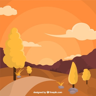 Landscape with pathway and trees at sunset