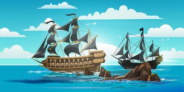해적 보트와 펄럭이는 깃발, 푸른 하늘, 구름과 산호초와 oldwooden 배송 풍경.