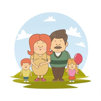 Landscape with pregnancy mom old father and little kids
