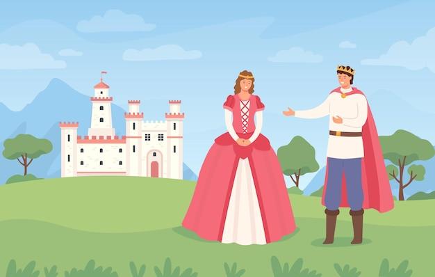 왕자와 공주가 있는 풍경. 만화 동화 성 및 캐릭터입니다. 판타지 마법의 왕국, 중세 유럽 벡터 배경입니다. 왕과 여왕 유럽, 왕국 요새 야외 그림