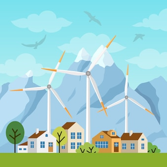 Пейзаж с частными домами и ветряными мельницами