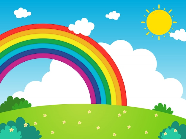 Landscape with rainbow in cartoon style