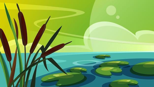 Пейзаж с камышом на озере. красивые природные пейзажи.
