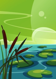 Пейзаж с камышом на озере. природные пейзажи в вертикальной ориентации.