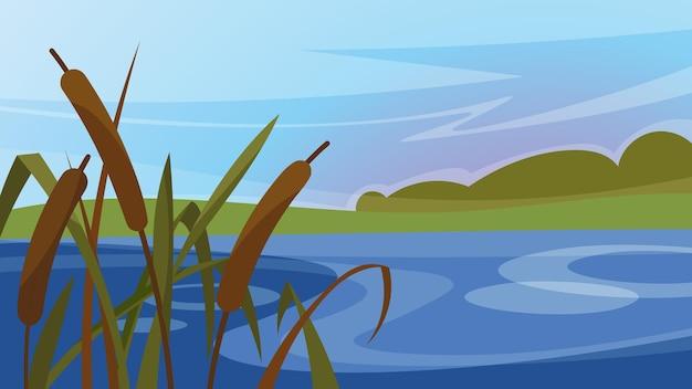 Пейзаж с камышом на реке. красивые природные пейзажи.