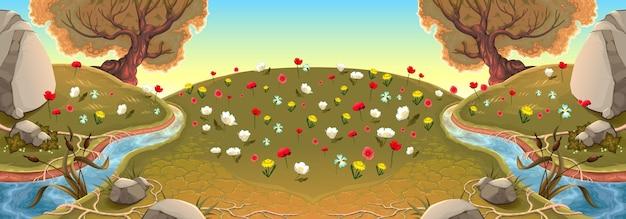 강과 꽃이 있는 풍경. 벡터 배경 그림입니다.