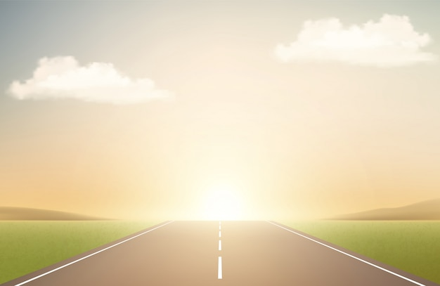 Пейзаж с дорогой и закатом. взлетно-посадочная полоса, облака и восход солнца