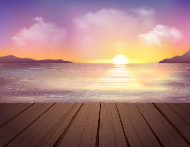 바다, 산 및 부두 일러스트와 함께 풍경