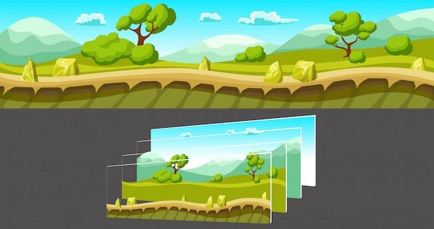 게임을 위해 분리 된 레이어가있는 풍경