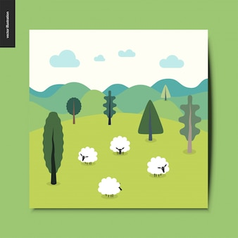 Landscape with sheep, hills and clouds card