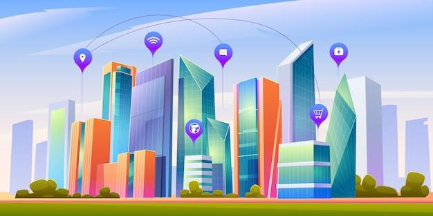 Пейзаж с умным городом и инфографики иконки