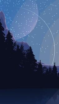Landscape with starry sky