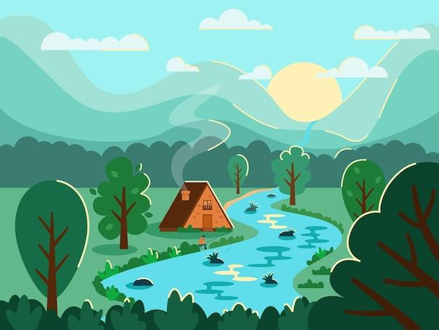 Пейзаж с солнцем горы дом река деревья лес и рыбак