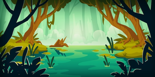 Пейзаж с болотом в тропическом лесу
