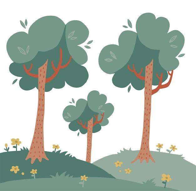 Пейзаж с высокими деревьями на зеленой траве с цветами, плоская рисованная иллюстрация