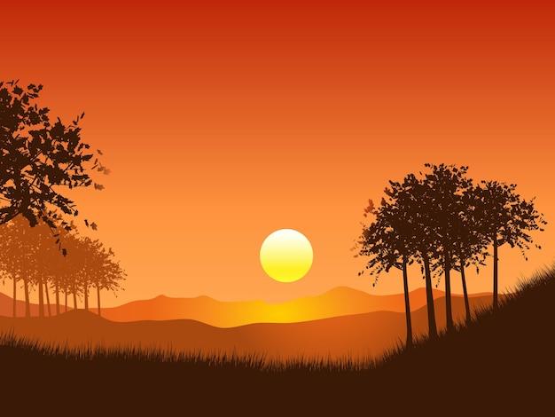 夕焼け空に映える木々のある風景