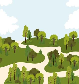 木々や道路のイラストと風景