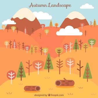 Paesaggio con alberi e tronchi in colori caldi