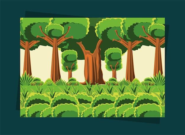 나무와 풍경 프리미엄 벡터