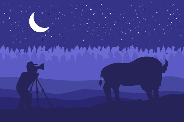 필드에 야생 bizon와 풍경입니다. 프레리 풍경입니다. 달 파노라마와 밤입니다. 자연 장면입니다. 사진 작가는 자연 속에서 비종을 촬영합니다. 벡터