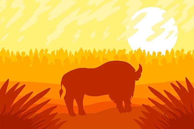 フィールド上に野生の強いビゾンがある風景。日の出のパノラマ。草のある自然の大草原。ベクター