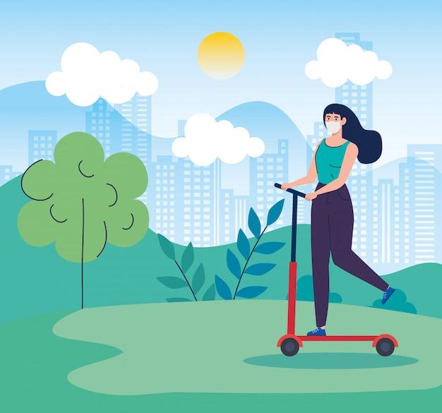 Пейзаж с женщиной, используя маску в скутере