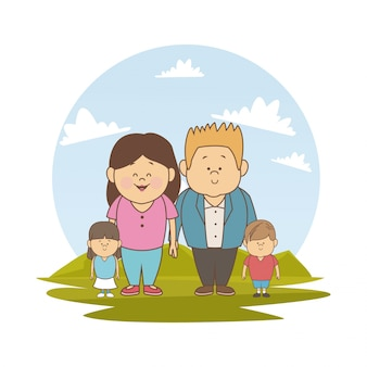 Пейзаж с маленькими родителями и маленькими детьми