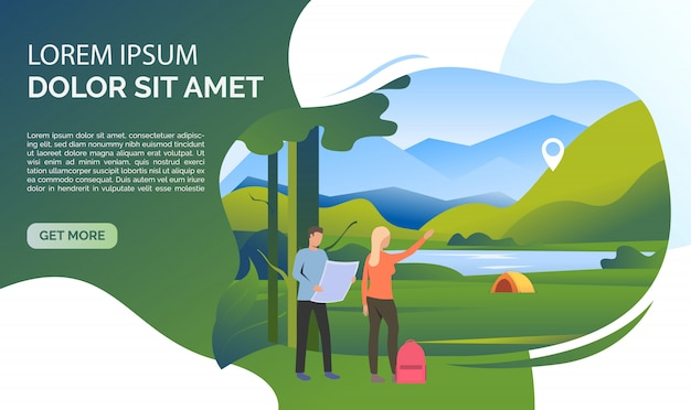 Landscape, woman, man, backpack, map and sample text