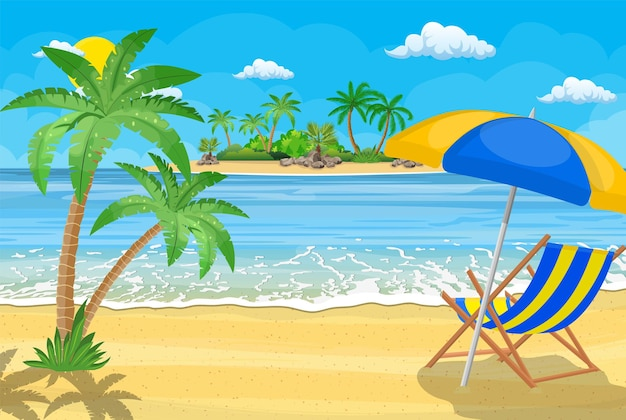 Landscape of wooden chaise lounge, palm tree on beach. sun with clouds