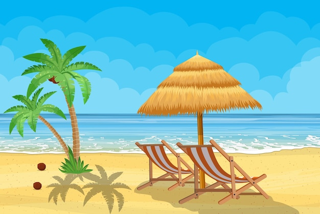 Landscape of wooden chaise lounge, palm tree on beach.