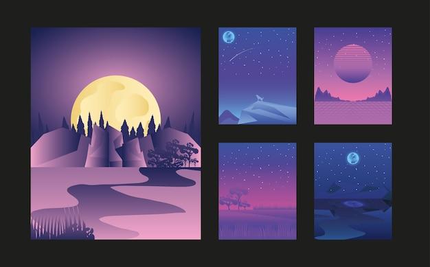 풍경 밤 달 별이 빛나는 하늘 자연 세트 카드 그림
