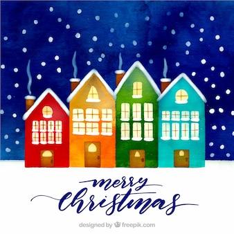 컬러 하우스와 크리스마스 도시의 풍경