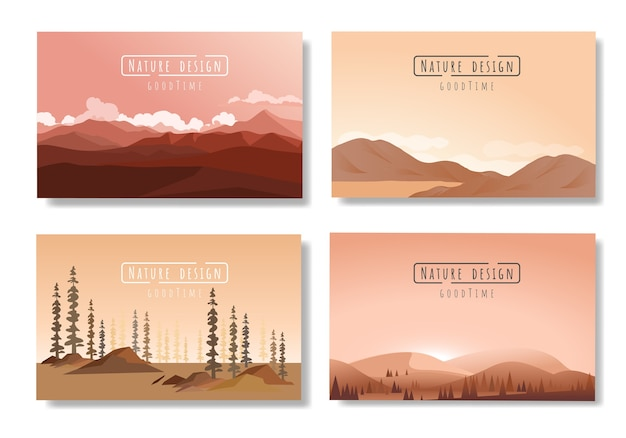 Landscapes vector set, flat style.