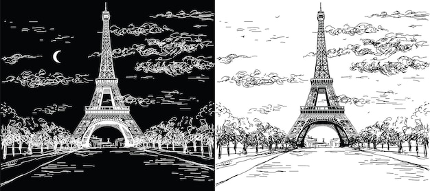 Landscapes with eiffel tower in black and white colors