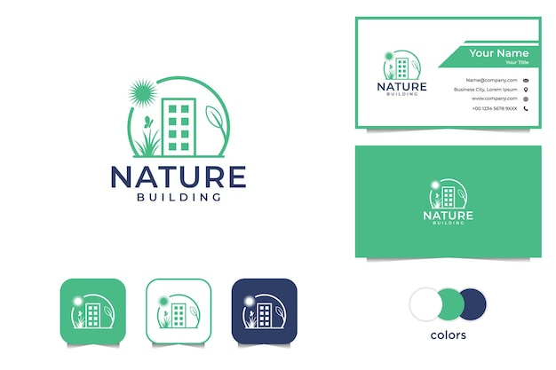 Landscaping with building and nature logo business card