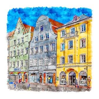 Landshut 독일 수채화 스케치 손으로 그린 그림