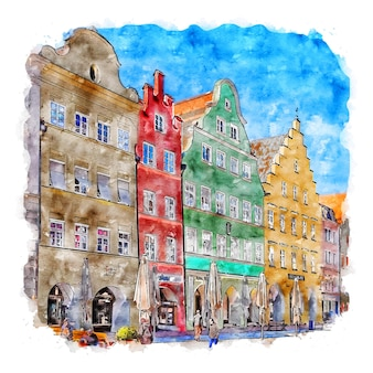 Landshut germany watercolor sketch hand drawn illustration