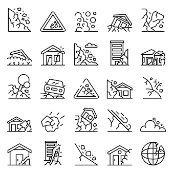 Landslide icons set, outline style