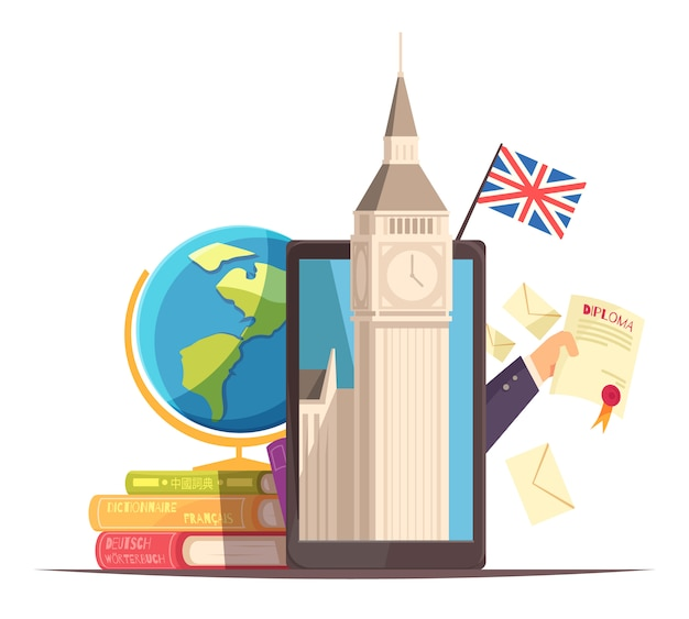 Language center online communication courses flat advertising composition with flag diploma tablet big ben dictionaries