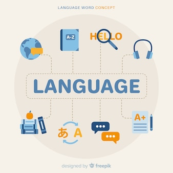 Language composition with flat design