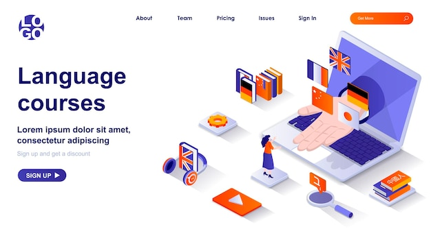 Language courses 3d isometric landing page with people characters