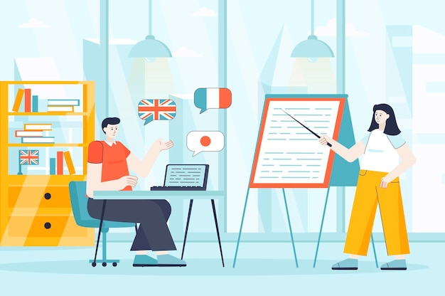 Language courses concept in flat design