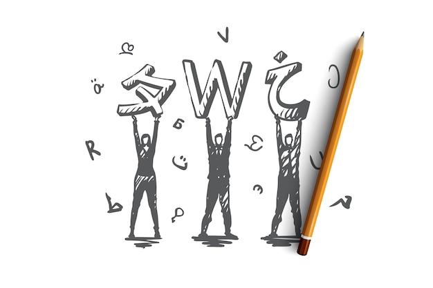 言語、コース、英語、勉強、クラスのコンセプト。手描きのさまざまな言語と文字の概念スケッチを持つ人々。図。