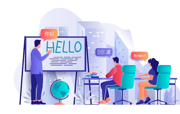 Language courses flat design concept illustration of people characters