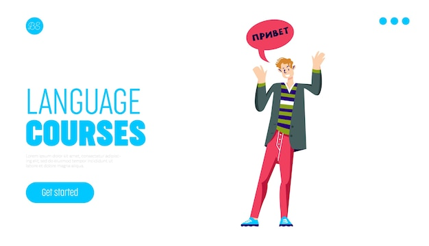Language courses landing page template with man greeting in russian.