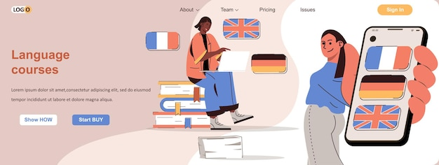 Language courses web concept students learn foreign languages online or mobile app