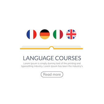 Language learn vector banner design. language course english different speak logo concept